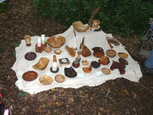 Display of work by woodturner/carver Bob Wakeling in Perrywood on the Art Trail.